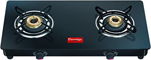 Prestige Marvel Glass 2 Burner Gas Stove, Black