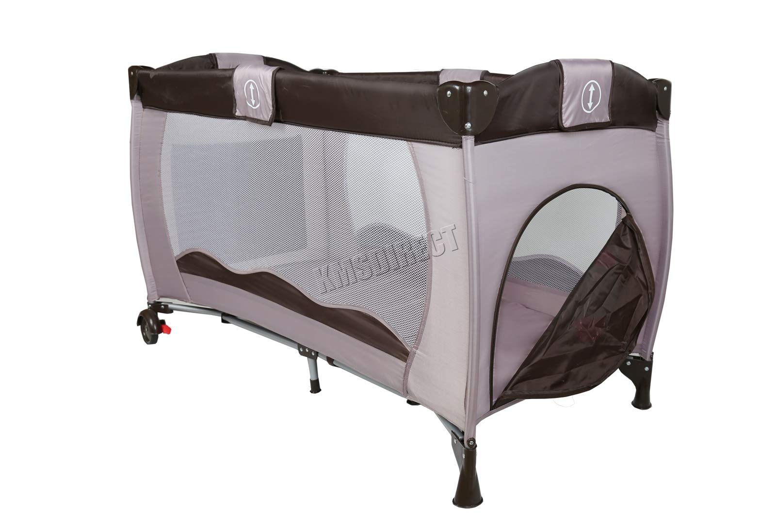 FoxHunter Portable Baby Cot Sleeping Bed Kids Infant Playpen Bassinet Child Play Pen with Entryway Travel BCB01 Coffee FoxHunter Travel cot easy to assemble and disassemble thanks to folding mechanism; igh quality and light weight; Fast and easy set-up, safe material and easy to clean; 5