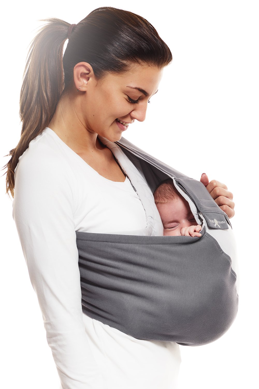 Wallaboo Wrap Sling Carrier Connection, Easy Adjustable, Ergonomic, 3 Carrying Positions, Newborn 8lbs to 33 lbs, Soft Breathable Cotton, 3 Sitting Positions, EU Safety Tested, Color: Grey / Silver Wallaboo Ergonomically correct design with three natural positions: sleep, sit and active- one size fits all Can be used from premature baby through to 33lbs - with easy-to-use features like a full-front opening and an adjustable back Single piece of fabric, no straps, belts or buckles - partly padded to give extra comfort- no wrapping, no hardware. ready to wear 1