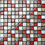 Glas Mosaik Fliesen 30cm x 30cm Matte kleine Steine in herbstlichen Farben Rot, Gold, Silber, Schwarz mit fernöstlicher Struktur (MT0091)