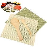 Kit de fabrication de sushis – 4 tapis de sushi en bambou, tapis à rouler pour sushis, kit de démarrage pour débutants…