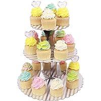 MengH-SHOP Présentoir à Cupcakes 3 Niveaux Carton Support de Petit Gâteau pour Bébé Shower Enfants Fête Anniversaire…