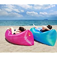 SHOPECOM Fast Inflatable Camping Air Sofa Outdoor Lazy Sleeping Bag Beach Bed Lounger