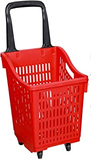 Shopping Basket Supermarket Trolley Durable Cart Grocery Four Wheel Red Color