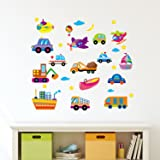 Amazon Brand - Solimo Wall Sticker for Kids' Room (Modes of Transport, Ideal Size on Wall: 50 x 45 cm)