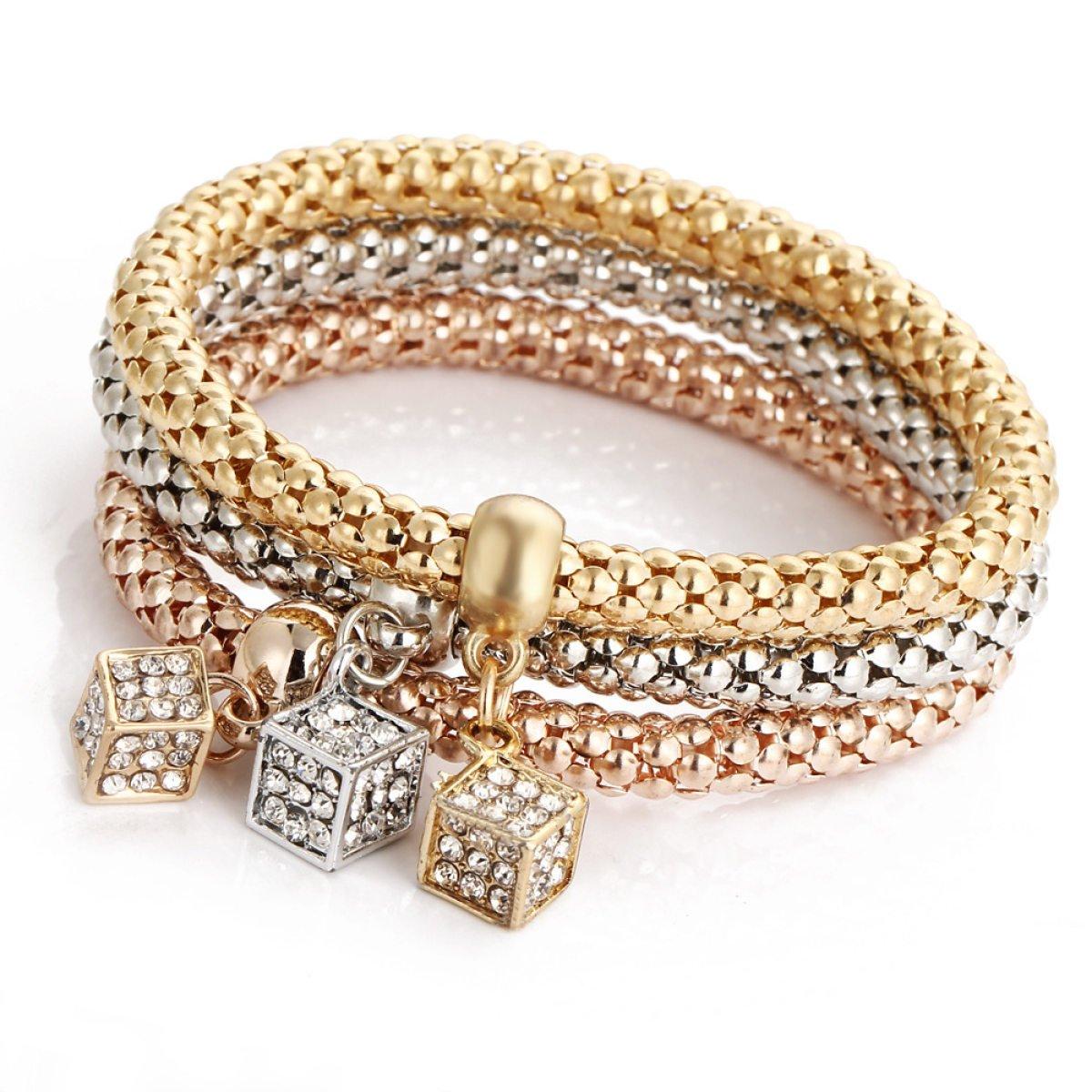 Bracciale Style WenL Triple Pop-Corn Bianco Giallo E Catena In Oro Rosa Placcato Con Il Diamante Di