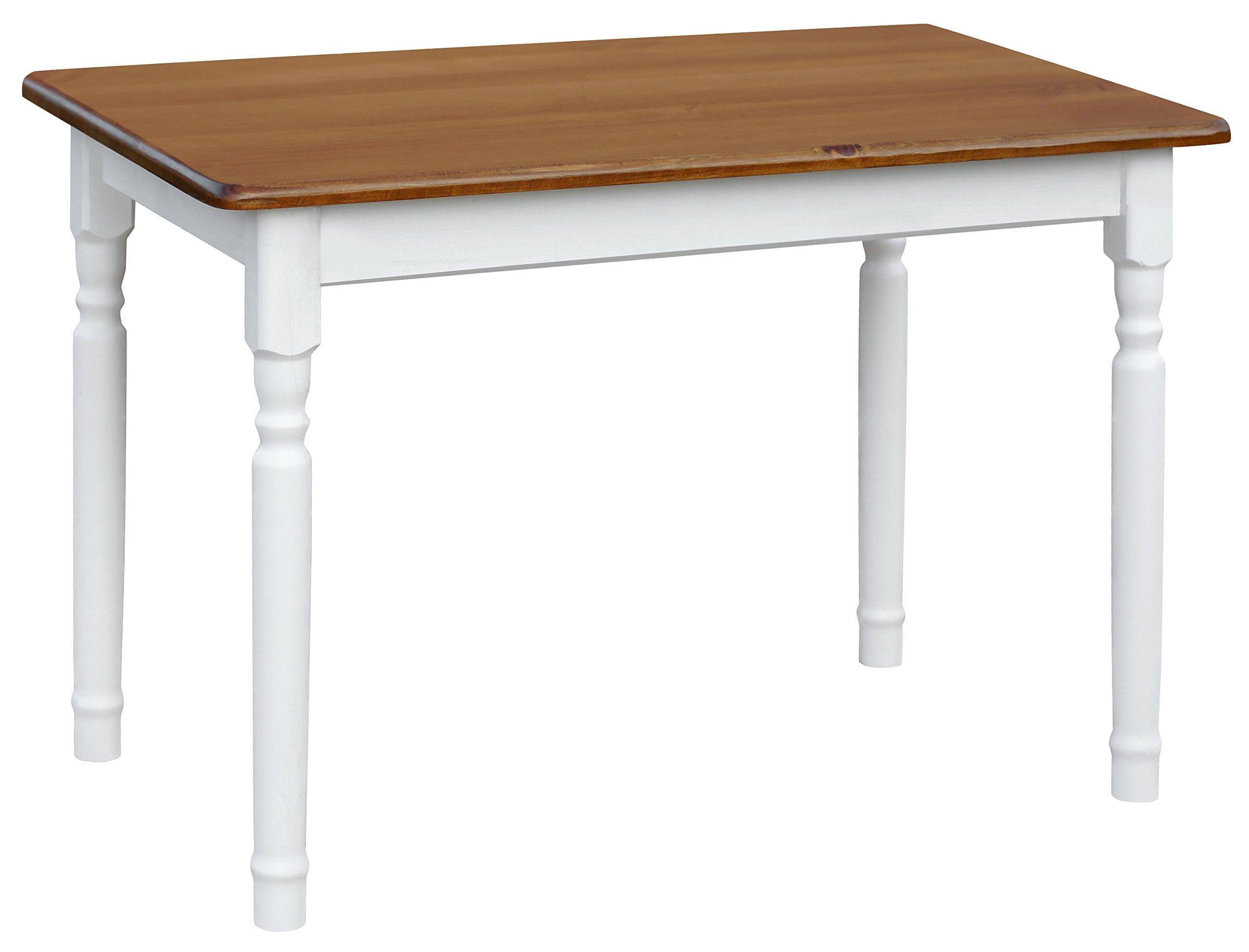 koma Esstisch 110x70cm Küchentisch Tisch MASSIV Kiefer Holz weiß - Eiche Landhausstil NEU 1