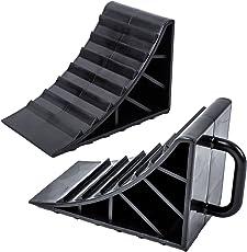 ProPlus Unterlegkeil Kunststoff schwarz 2er Set mit Griff für Wohnwagen, Wohnmobil und Anhänger