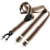 DonDon Bretelle uomo larghe 3,5 cm - 4 clips a y in pelle - elastiche con regolabili