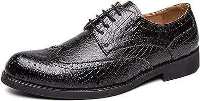 DADIJIER Oxfords Dress Shoes for Men Burnish Toe Brogue Ala Suggerimenti Plaid 4-Eye Lace Up Block Tacco in Pelle Sintetica in Pelle Sintetica Suola