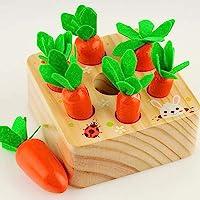 Coriver Jouets éducatifs Jeux d'empilage pour bébé 1 2 3 Ans, Carottes Jouets en Bois Montessori Jouets de branchement…