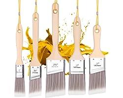 Emitever Paint Brushes Set-5 Piece, Wood Handle, Premium Wall Brush Set, House Paint Brush, Trim Paint Brush, Sash Paint Brus