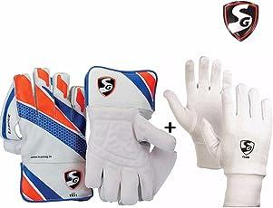 SG League Wicket Keeping Gloves Combo - Men's (SG Tournament Wicket Keeping Gloves ,Men's + SG Club Inner Gloves, Men's)