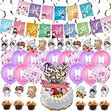 BTS Birthday Decorations Set, NALCY 40 Pcs BTS Conjunto de Decoración de cumpleaños BTS Cupcake Toppers Banner Globos Happy B