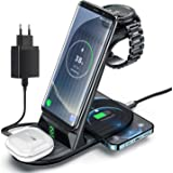 Induktiv laddstation, ZHIKE 4 i 1 10W Qi snabbladdningsstation, kompatibel med iPhone 11-serien/XS/XR/X / 8/8 Plus, Huawei, S