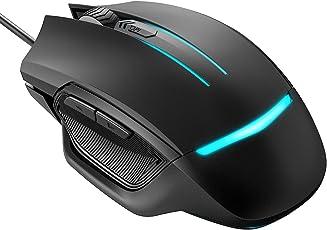 Gaming Mouse, Holife 117 programmierbare Maus 3200 DPI Mouse game Optical Gaming Mouse 4 DPI Stufen mit 6 Tasten/7 wechselnden LED Farben/ Ergonomisches Design/1.6M USB Kabel/ für Windows7/8/10/XP, Vista, Linux & Mac OS (Schwarz)