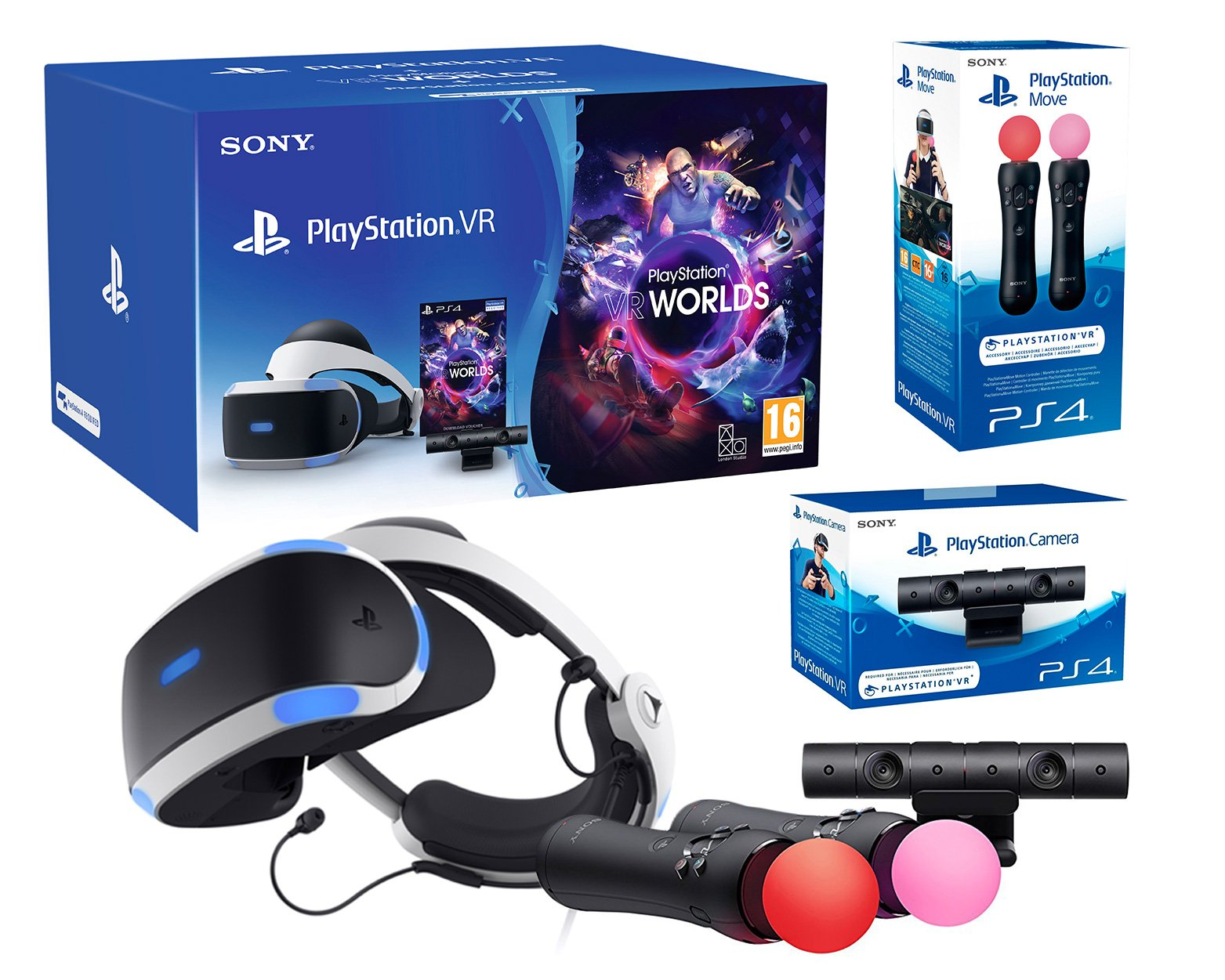 PlayStation VR2 (CUH-ZVR2) «Starter Plus Pack» Camera V2 + VR Worlds + Paire Move Twin Controllers