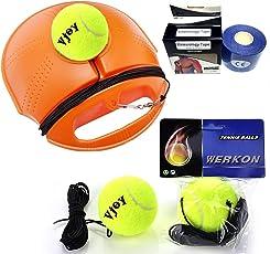 V-joy® Tennis Trainer Rebound Baseboard, VJOY® Tennis Selbststudium Praxis Training Set Tool Sport Equipment Fitness Tennis Rebound Base + 2Training Ball + 1Tennis Verbände