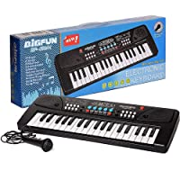 J S JS 37 Key Bigfun Piano Keyboard Toy for Kids with Mic Dc Power Option Recording Charger not Included Best Birthday…