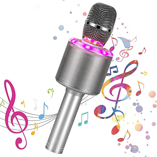Bearbro Microfono Karaoke Wireless Bluetooth,4-in-1 Palmare Portatile Microfoni Wireless con Luce LED Altoparlante per Casa KTV Regalo,per PC/Android/IOS/Smartphone/Ipad (Colore della pistola)