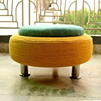 MIB Ottoman Pouffe for Living Room with Storage (Yellow, Teal, Large)