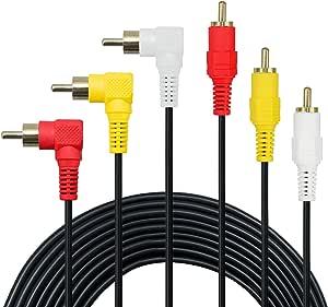 3 Cinch Kabel Premium Vergoldet 90 Grad Rechts Elektronik