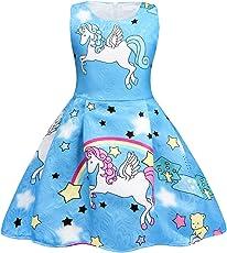 AmzBarley Unicorno Festa Vestito da principessa Stellato Abiti senza maniche per le ragazze dei bambini