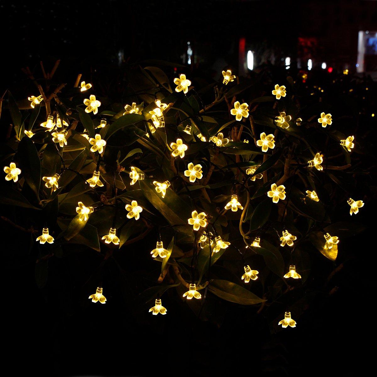 Addobbi Natalizi Luci.Yasolote 7m 50 Led Luci Natalizie Da Esterno Formato Di Fiore Addobbi Natalizi Luci Per Giardino Patio Luci Decorazioni Natale Catene Luminose Solare