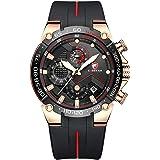 Relojes para Hombre Reloj cronógrafo Impermeable Deportivo con Correa de Silicona, Fecha, Reloj de Pulsera de Cuarzo Luminoso