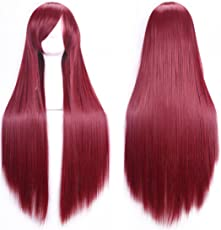 Chiguo Perücke 80cm Langes Glattes Blond Schwarz Braun Rosa Grau Usw Perücke Haar für Damen Frauen Karneval Cosplay Halloween Schaufensterpuppen Mottoparties (Tiefes rot)