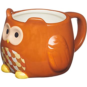 KitchenCraft Painted Ceramic Novelty Owl Mug 450 ml 16 fl oz - Brown