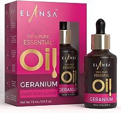 Elansa 100% Pure Geranium Essential Oil, 15ml