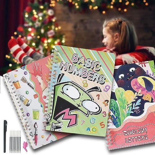Set di 3 quaderni per calligrafia magici riutilizzabili per bambini (con penna e impugnatura per penna e ricariche), per la scuola materna, per bambini, calligrafia, scrittura a mano