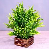 Fancy Mart Artificial Bamboo with Wooden Pot (Green, 1 Piece)