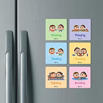 Colorful Fridge Magnets 6 pcs Childhood Memories Gift for Brother and Sister on Diwali Home Deocr by indibni