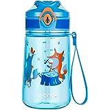 Amazon Brand - Eono Gourde Enfant avec paille 420ml, Bouteille Enfant Sans BPA Tritan, Gourde pour Enfant Bouteille Réutilisa