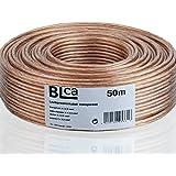 BLCA 50m - 2 x 2.5mm² - Câble Audio pour Enceintes - Câble HP Haut-Parleur en CCA Cuivre pour HiFi et Hi-FI Embarquée