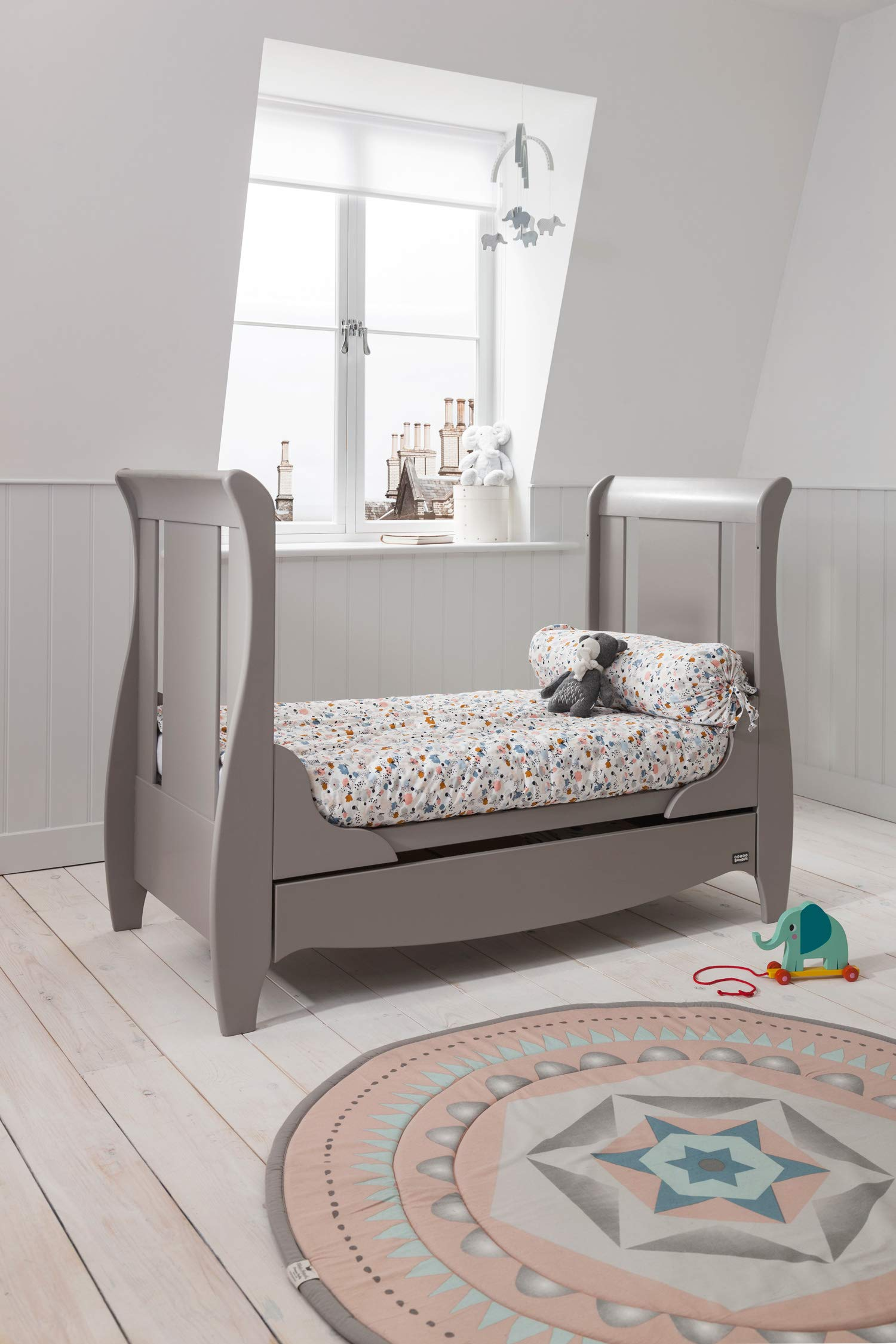 Tutti Bambini Roma Wooden Sleigh Cot Bed with Space Saver Under Bed Drawer - 120 x 60cm 3 Adjustable Positions (Truffle Grey) Tutti Bambini BIRTH TO 4 YEARS - Can be used as a Cot Bed from birth and then converted into a sofa or junior bed suitable up to 4 years ADJUSTABLE BASE - Three position adjustable mattress base, allowing easy access to little ones UNDER BED DRAWER - Classic sleigh design with under-bed drawer for extra storage, available in White or Espresso finish 6