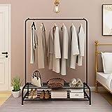 JURMERRY Porte-Manteau en métal Tuyau Suspendu Tringle à vêtements Étagère de Rangement Robuste en métal à 2 Niveaux avec Bur