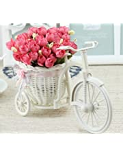 TIED RIBBONS Artificial Peonies Flowers with Cycle Shape Vase Basket Pot for Living Room Home Décor and Gifts