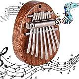 Kalimba Portable, Piano à Doigts En Bois, Kalimba 8 Clés, Piano à Pouce de Poche, Mini Portable Pouce Piano, Acajou 8 Clé Min