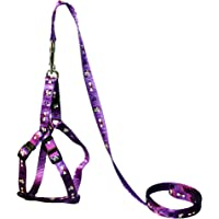 Petshop7 Nylon Printed Puppy and Small Dog Harness & Leash 0.5 inch - Small (Adjustable Chest Size - 13-19 inch) (Purple…