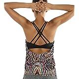 icyzone Dames Sport Yoga Top met BH - 2-in-1 Fitness Shirt Cross Back BH Training Tanktop