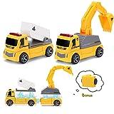 Pickwoo Byggfordon leksaker, ingenjörskonst magnetisk bil lastbil lekset med lyftkran, grävare, bulldozer, stam utbildning by