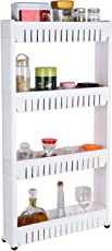 s4d Multipurpose and Versatile 4 Tier Slim Side Rack Shelf with Wheels for Kitchen,/Bathroom/Living Room Storage Solution