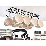 Vardesign Porte-Tasses Rangement Suspendu Range Tasse à Café Expresso 8 Crochets de Rangement Metal pour Cuisine Étagère Plac