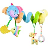 caterbee Car Seat Toys, Baby Activity Spiral Plush Stroller bar Toy Accessories, Crib Toys with Bell for boy or Girl, Hanging