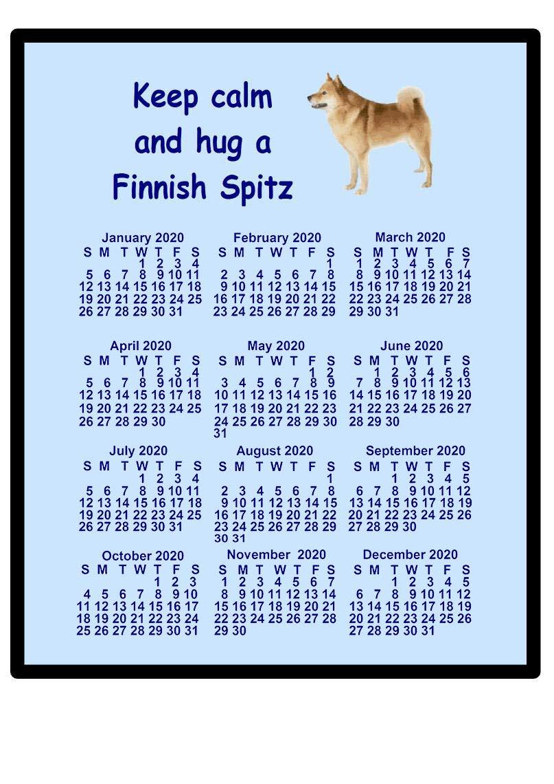 magnetsandhangers Finnish Spitz – 2020 calendar Mouse mat (keep calm)