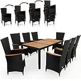 Deuba Poly Rattan Sitzgruppe Schwarz I 7cm Dicke Auflagen I 8 Stapelbare Stühle I Tisch & Armlehnen Holz Gartenmöbel Set