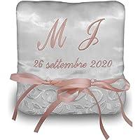 Crociedelizie, Cuscino Fedi Cuscinetto Portafedi Raso Ricamo Personalizzato con iniziali Nomi Sposi + Data Matrimonio
